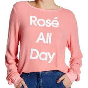 ⭐️Wildfox Rosé All Day Oversize Pullover (XS) NWOT